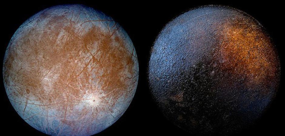 左图为木星的已知卫星之一:木卫二(europa);右图为烧