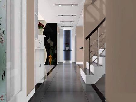 客厅进门玄关效果图:走廊吊顶装修效果图,时尚简约的设计